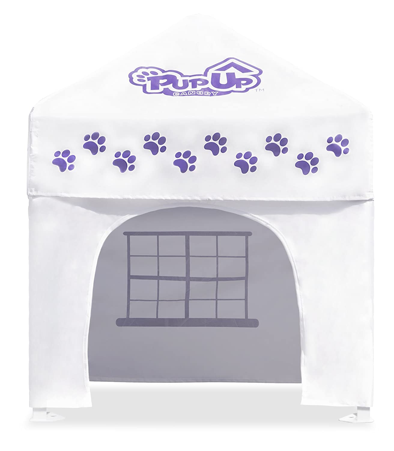 PupUp Canopy Instant and Portable Dog House and Shelter, White Purple, Small