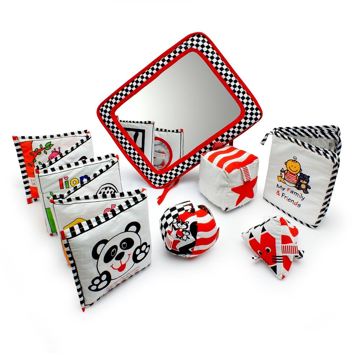 Infant Development Toys Gift Bundle - Black, White & Red.