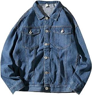 pujingge-CA Mens Loose Fit Cowboy Fashion Rugged Denim Coat Single Breasted Jackets