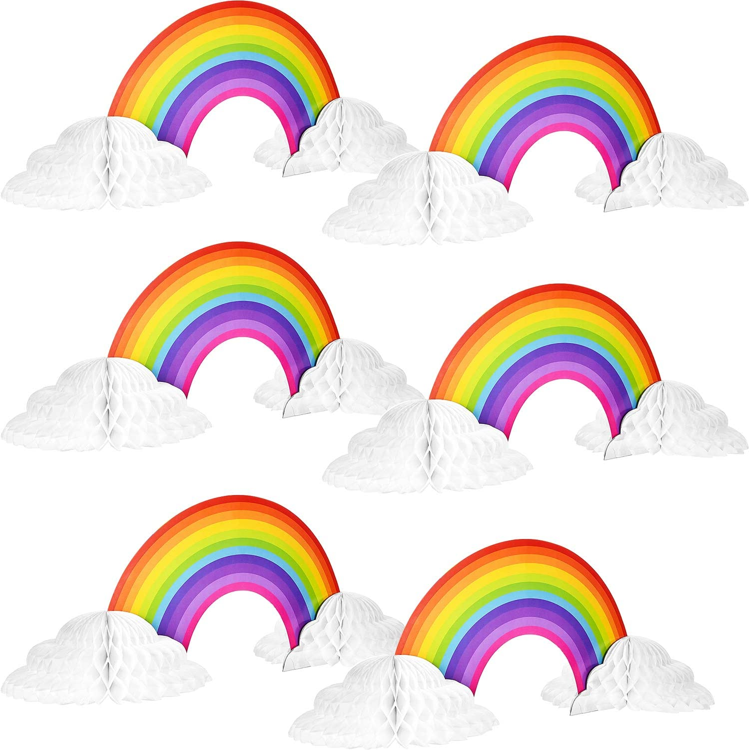 4 Rainbow Honeycomb Paper Centerpiece No Crease Rainbow Cloud Centerpieces Converting Rainbow Centerpieces for Birthday Baby Shower Decoration