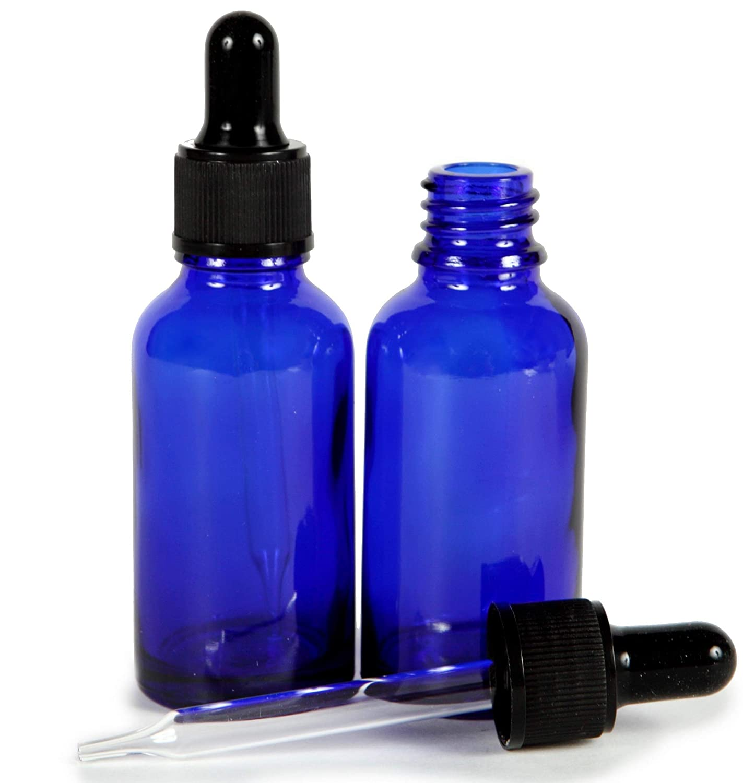 Vivaplex, Cobalt Blue, 1 oz Glass Bottles, with Glass Eye Droppers - 2 pack …