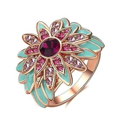 Beydodo Versilbert Damen Ring Zweifarbig Blumen Rund Zirkonia