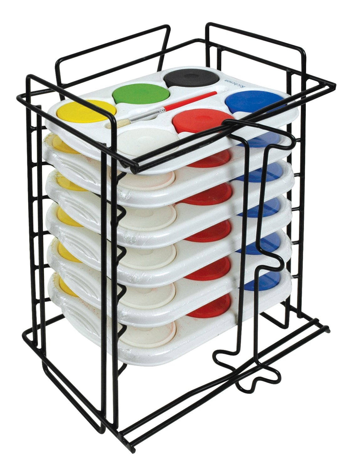 Jack Richeson 6 Tempera Sets in 6 Hole Trays with Rack by Jack Richeson