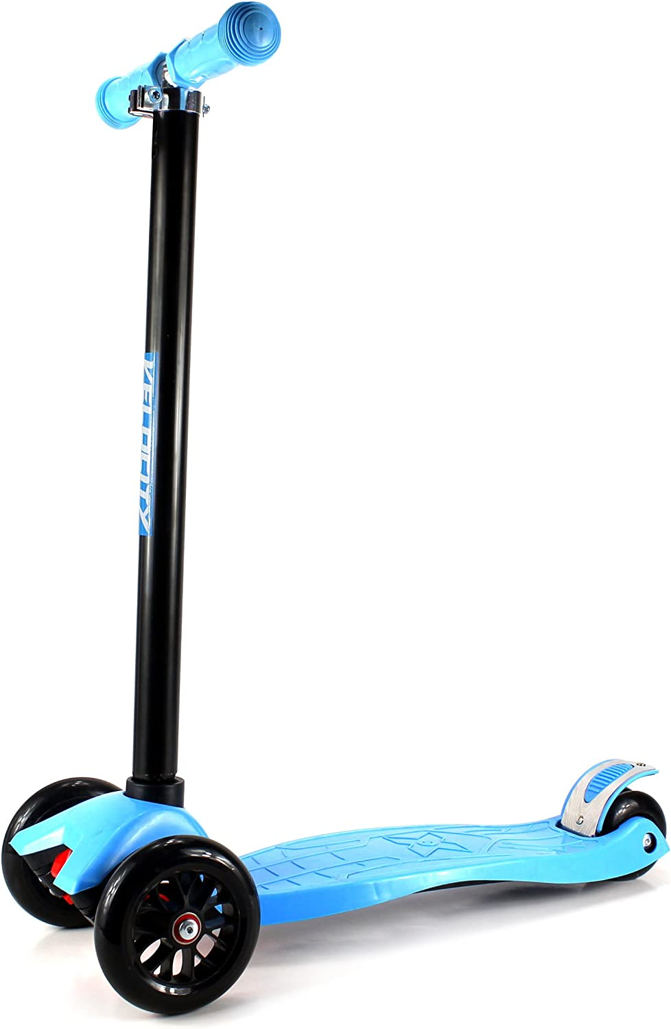 Velocity Scooters 22 Children s Kid s Four Wheeled Toy Kick Scooter w Adjustable Handlebars, Rear Fender Brake, Rubber Hand Grips Blue