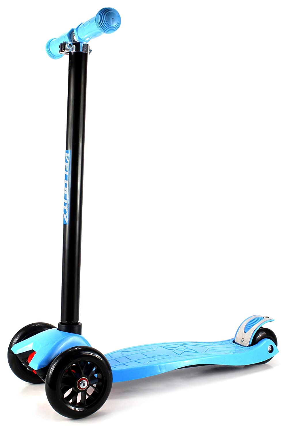 Velocity Scooters '22 Children's Kid's Four Wheeled Toy Kick Scooter w/ Adjustable Handlebars, Rear Fender Brake, Rubber Hand Grips (Blue)