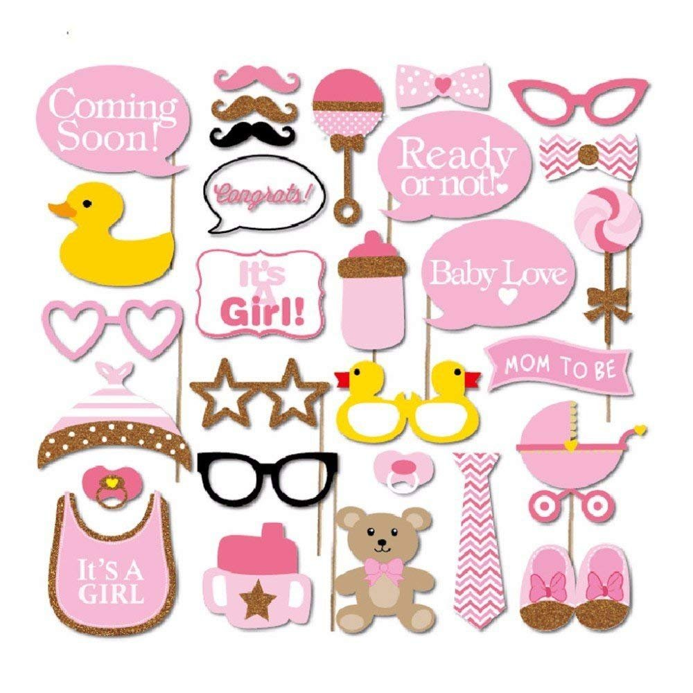 Baby Shower Decorations for Girl - 80PC Bundle Includes - Garland Bunting Banner Bonus+30PC Photo Booth Props Bonus+8PC Balloons Plus+E-Book Prediction Card and Decorations Set with in Ziplock Bag by Golden Babyy (Image #3)