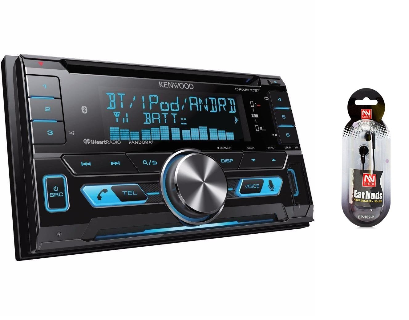 Amazon.com: Kenwood DPX530BT/NUTEK EARBUDS Double-DIN In-Dash CD/MP3/USB  Bluetooth AM/FM Car Stereo Receiver High Resolution Audio Compatibility ...