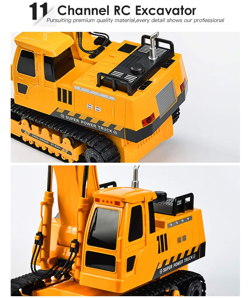 DOUBLE  E Remote Control Excavator Toys Fully Functional Construction Tractor, Rechargeable Rc Excavator 1:20 RC Excavator Truck with Lights & Sounds 2.4Ghz Transmitter, White by DOUBLE  E (Image #5)