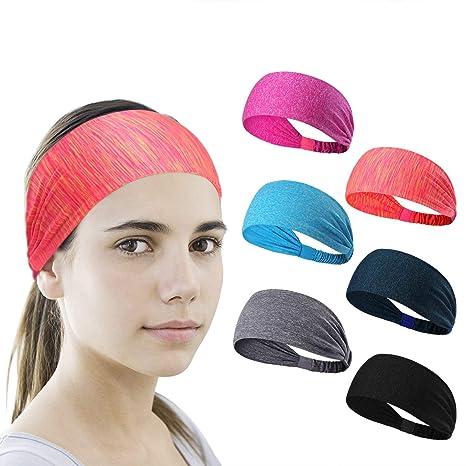 7435b3d79bca59 6 Stück Sport Stirnband Schweißband ideal für Yoga/Radfahren/Laufen/Fitness,  große