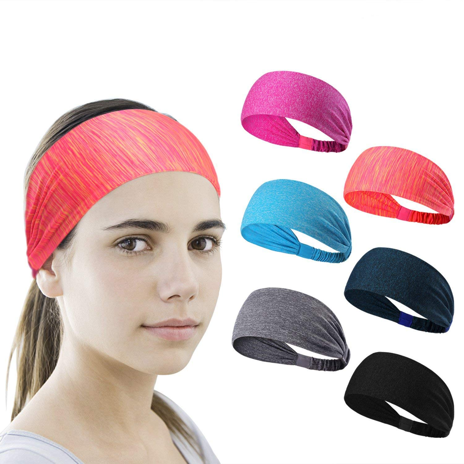 6 Pieces Sport Headband Yoga/Cycling/Running /Fitness ExerciseHairband Elastic Sweatband for Unisex by Leoter (Image #1)