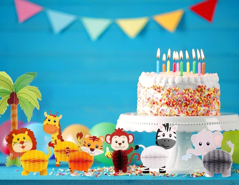 Baby Shower 7 Pcs Jungle Safari Animal Honeycomb Paper Centerpieces Set Party Decorations Supplies Birthday Party 3D Table Decorations for Jungle Safari Theme Party