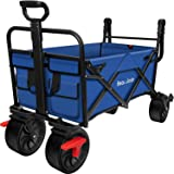 BEAU JARDIN Folding Wagon Cart with Brakes Free Standing Collapsible Utility Camping Grocery Canvas Fabric Sturdy Portable Ro