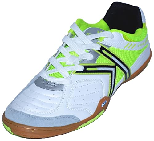 a243c58d7 Kelme Michelin Star 360 Indoor Soccer Shoes 9.5 D(M) US White Blanco Green   Amazon.ca  Shoes   Handbags