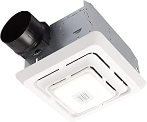 Broan-NuTone SPK80L Bluetooth Speaker Bathroom Ventilation LED Light, 80 CFM, 2.5 Sones Bath Fan, White