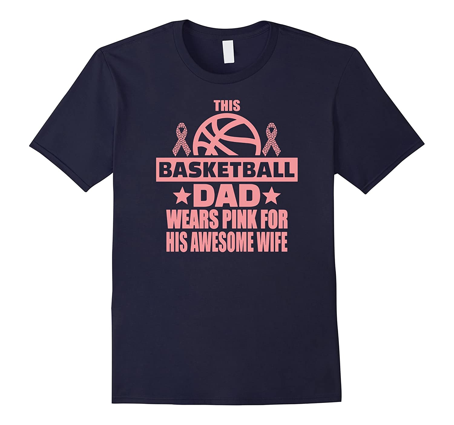 Mens This basketball dad wears pink for wife breast cancer tee-FL