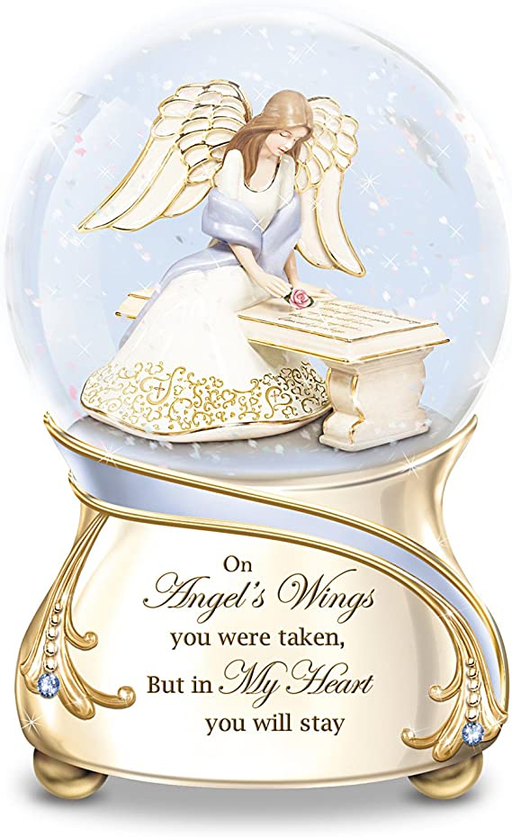 The Bradford Exchange Remembrance Porcelain Musical Glitter Globe With Angel And Swarovski Crystals Home Kitchen