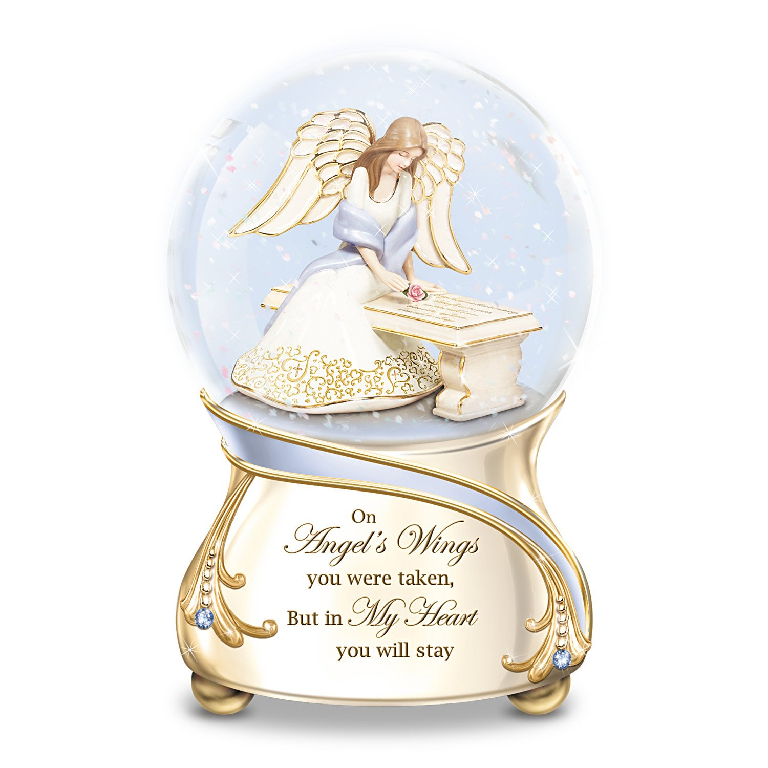 amazoncom remembrance porcelain musical glitter globe with angel and swarovski crystals by the bradford exchange home u0026 kitchen