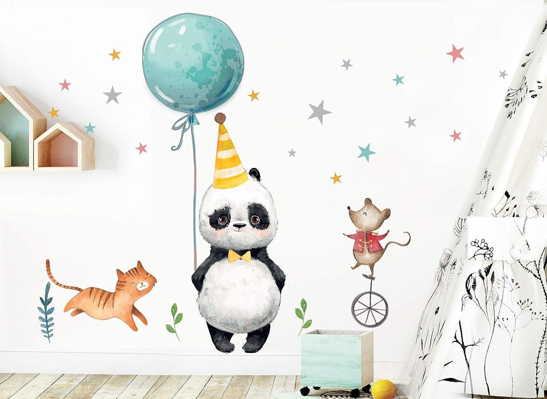 Little Deco Aufkleber Panda Katze Maus /& Sterne I S 62 x 44 cm I Luftballon Partyhut Wandbilder Wandtattoo Kinderzimmer Tiere Deko Babyzimmer DL198 BxH