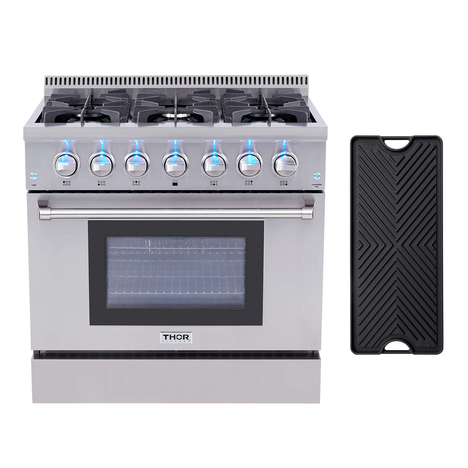 Thor Kitchen HRD3606U 36'' Dual Fuel Range Freestanding Professional Style with 5.2 cu.ft Convection Oven in Stainless Steel, 6 Burners, Cast-Iron Reversible Griddle