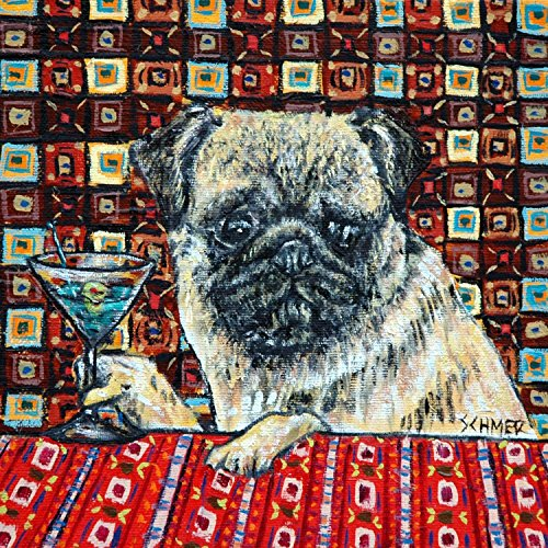 Pug at the Martini bar dog art tile coaster gift