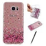 Case for Samsung Galaxy S7 Edge, HanCda TPU Bumper Silicone Soft Gel Case Transparent Clear Stylish Pattern Anti Scratch Ultra Slim Cover Shell for Samsung Galaxy S7 Edge - Love Heart