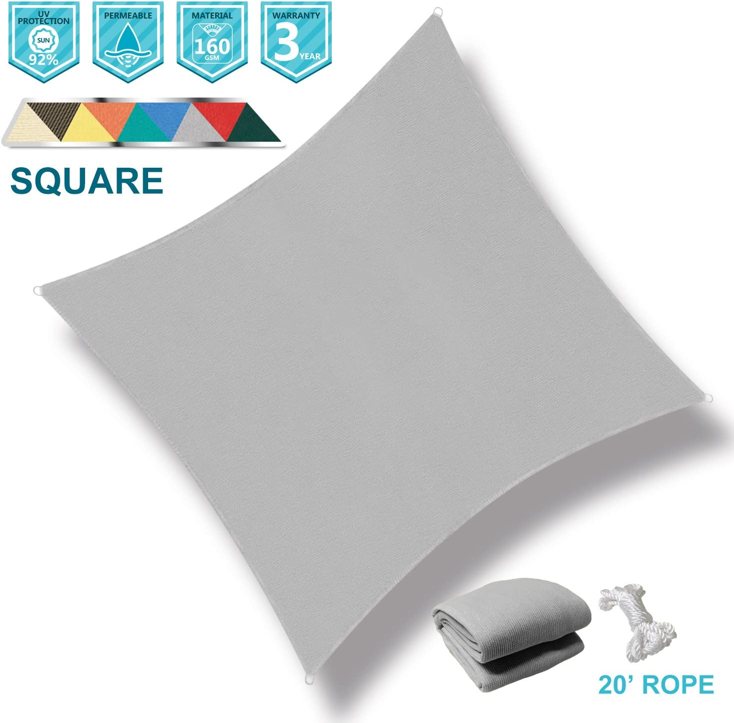 Coarbor 10 x10 Square Light Grey UV Block Sun Shade Sail Canopy Perfect for Patio Outdoor Garden