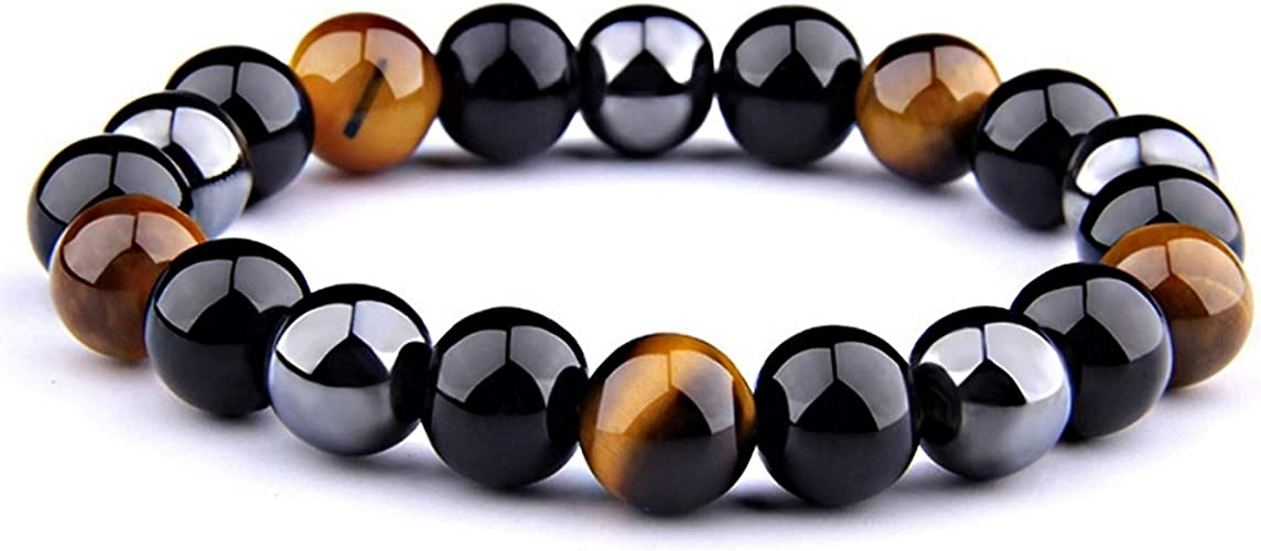Wave Process Pulsera de Piedras Naturales 21cm Triple Protección con Obsidiana Negra, Ojo de Tigre y Hematita De 10mm, Marca para Mujeres y Hombres