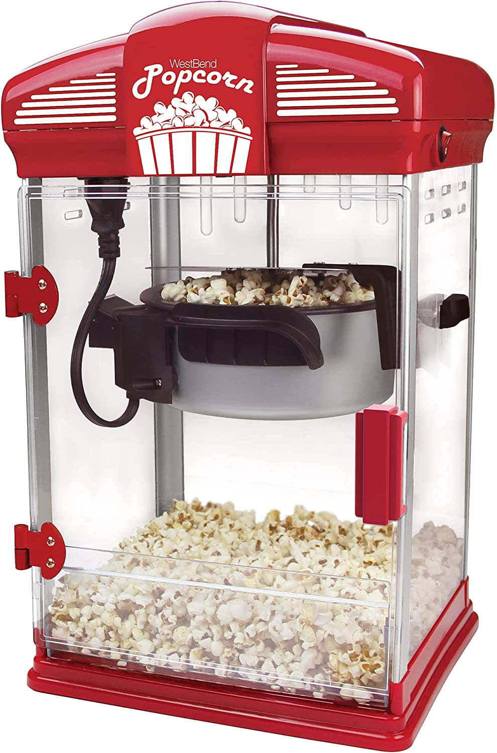 West Bend Hot Oil Theater Style Popcorn Popper Machine with Nonstick Kettle Includes Measuring Tool and Serving Scoop, 4-Ounce, Red