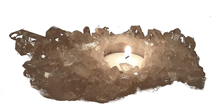 rockcloud Natural Raw Rose Quartz Taper Tea Light Candle Holder Air Plant Holder Healing Stone Home Decoration Figurine