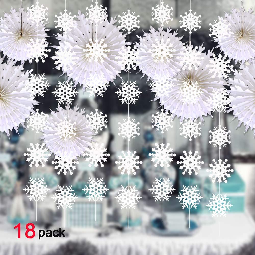 Howaf 4 Packung Weihnachten H/ängende Schneeflocken Girlande und Schneeflocke Papier F/ächer f/ür Weihnachtsdeko Winter Dekoration f/ür Geburtstag Babyparty Hochzeit 16-Pack Neujahr