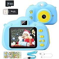 Hangrui Cámara para Niños, HD Doble Objetivo Juego Video Cámara de Fotos Digital con Tarjeta de Memoria de 32GB…
