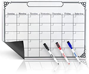 Smart Planner's Magnetic Calendar for Refrigerator White Board | with 3 Magnetic Dry Erase Markers (Large) | Great as a Kitchen Fridge Dry Erase Family Board Planner