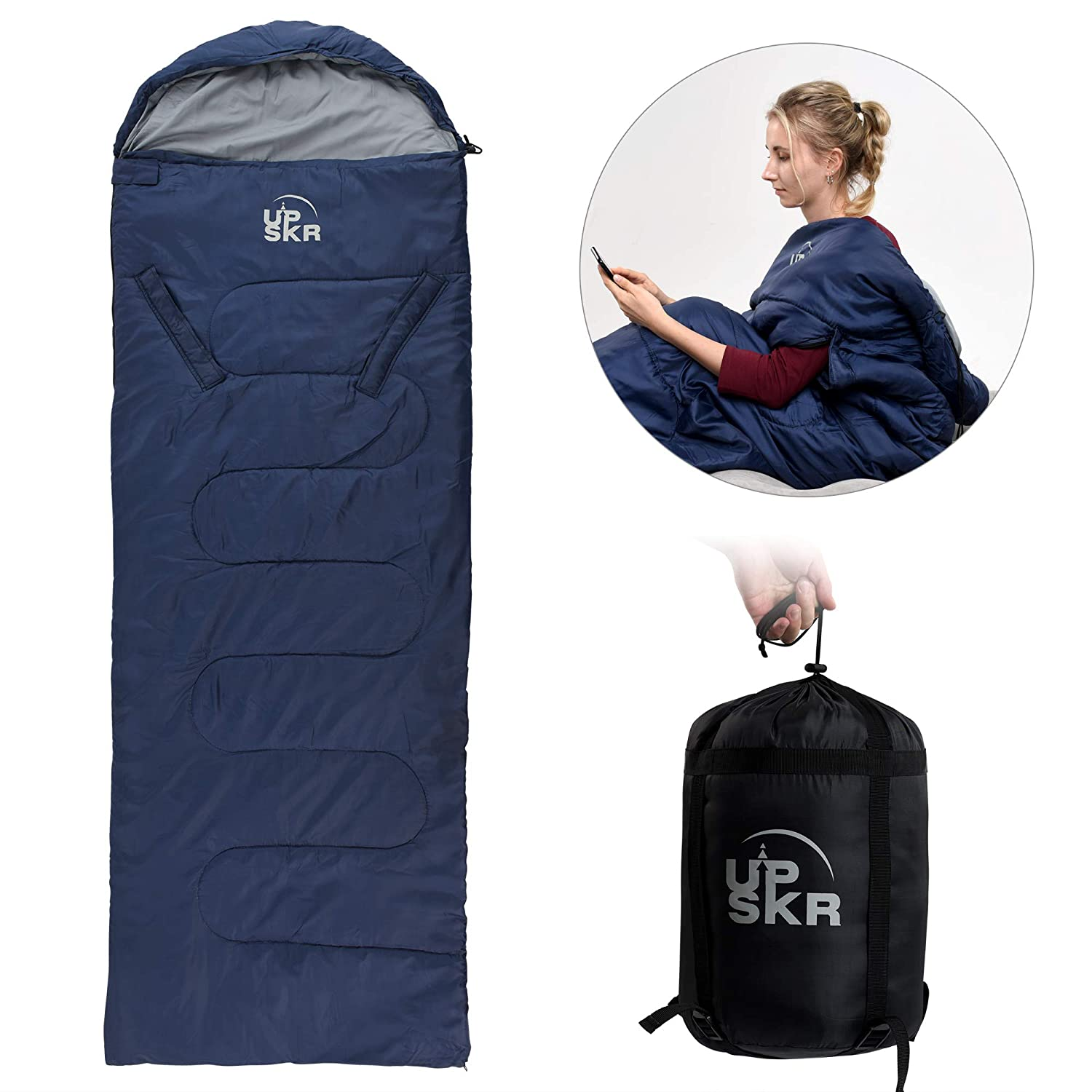 UPSKR Sleeping Bag Lightweight Waterproof for Adults Kids Cold Weather, 4 Season Rectangular Sleeping Bags Great for Indoor Outdoor Use Hiking Backpacking Camping Traveling with Compression Sack