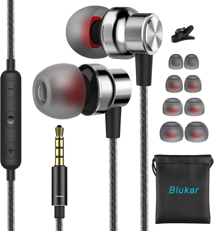 Auriculares In Ear, Blukar Auriculares con Micrófono y Cable Cómodo Reducción Ruido Sonido Estéreo Control de Volumen para Galaxy, Huawei y Todos los Dispositivos de Auriculares de 3.5mm