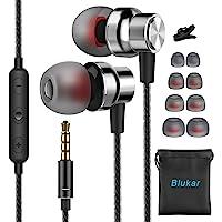 Auriculares In Ear, Blukar Auriculares con Micrófono y Cable Cómodo Reducción Ruido Sonido Estéreo Control de Volumen…