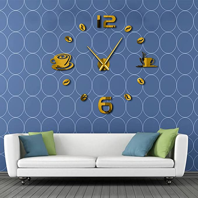 Amazon.com: Wall Clock Cafe DIY Large Frameless Giant Modern Design Cafe Coffee Mug Coffee Bean Wall Decor Kitchen Wall Watch: Home & Kitchen