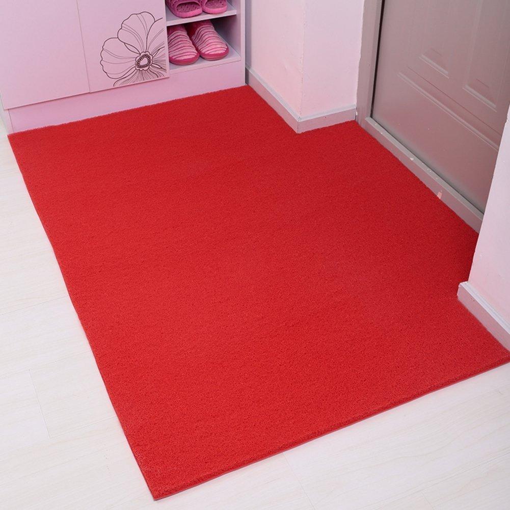 MoMo Draht-Gehäusematte Plastiktür-Eingangsmatten in der Hall-   Fuß-Auflage verdickte Badezimmer-Matte Duschmatten,rot,120  120 cm B078GM6T94 Duschmatten