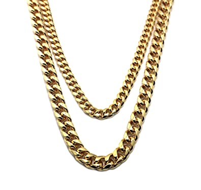 Hip-Hop Rapper Look Multi-Length Two Chain Necklace Set, Gold-Tone ...