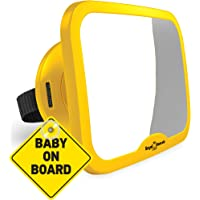 ROYAL RASCALS Baby Car Mirror for Back Seat - Updated Premium Model - Safest Yellow Frame – Shatterproof Baby Mirror for…