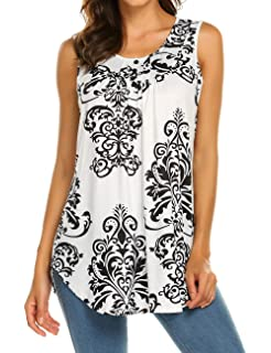 11b7f721a78ec Halife Women s Paisley Printed Pleated Sleeveless Blouse Shirt Casual Flare Tunic  Tank Top