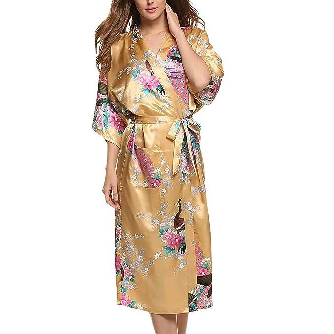 Asskyus Traje de Kimono de Robe Largo del sueño de Las Mujeres, Albornoz del Pavo Real y Flores del Traje Floral