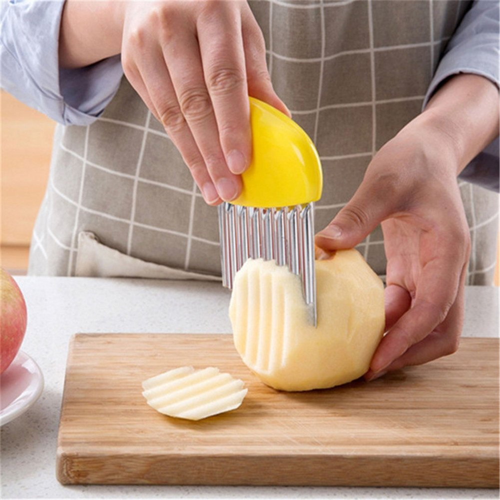 2 Pcs/set Wavy Chopper Potato Cutter Knife,Crinkle Cutter Blade for Veggies Potato Cucumber Carrots French Fries
