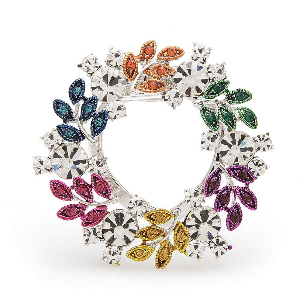 WULI & BABY Copper Multi-Color Leaves Wrench Flower Scarf Pins Weddings Banquet Brooches Gifts