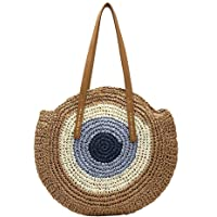 Tomepeia Vintage Beach Bag Handmade Shoulder Bag Straw Fabric Round Bags Bohemian Summer Vacation Casual Bags