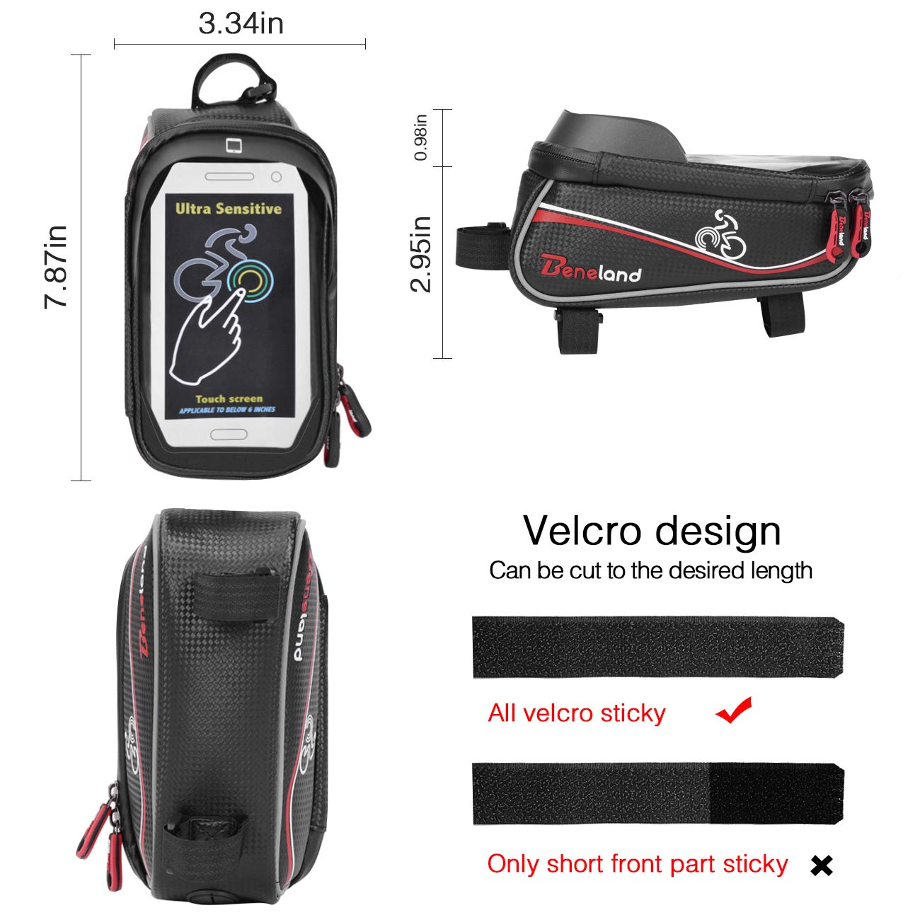 Bike Bag, Frame Bike Bag with Waterproof Touch Screen Phone Holder Case for iPhone X 8 7 6s 6 plus 5s 5/Samsung Galaxy s7 s6 note 7 Cellphone Below 6.0 Inch by Beneland (Image #2)
