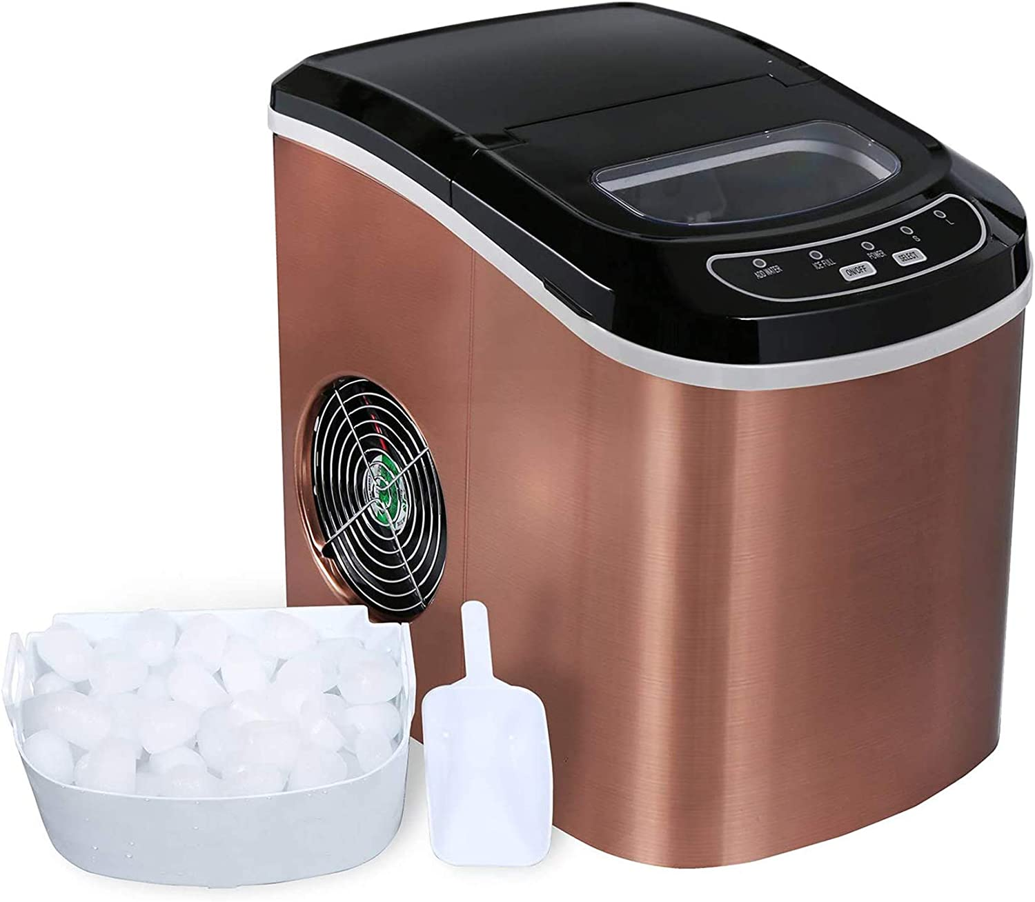 S//L COPPER Make 26 lbs Ice in 24 Hrs with 2 Size Ice Cubes Ready in 6 Mins Compact Electric Ice Maker with Ice Scoop and Basket Ice Maker Machine Countertop
