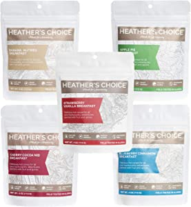 Heather's Choice, Buckwheat Breakfast Variety Pack, Wholesome, Allergen-Friendly Dehydrated Food for Backpacking, Camping, Hunting and Travel. with Real Apple, Cherry, Banana, Blueberry & Strawberry