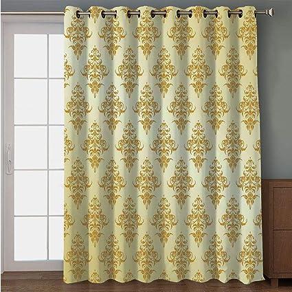 Bon Blackout Patio Door Curtain,Yellow,Traditional Victorian Renaissance  Antique Patterns On Vintage Background Design