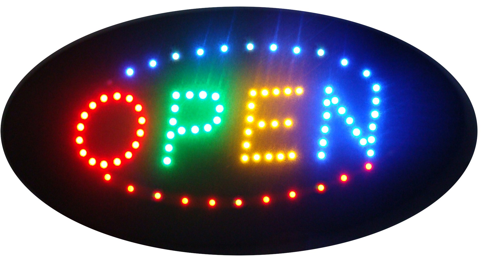 CHENXI Oval OPEN Sign 48 X 25 CM LED OPEN Sign Electric Billboard Bright Advertising Board Flashing Window Display Sign (48 X 25 CM, A)