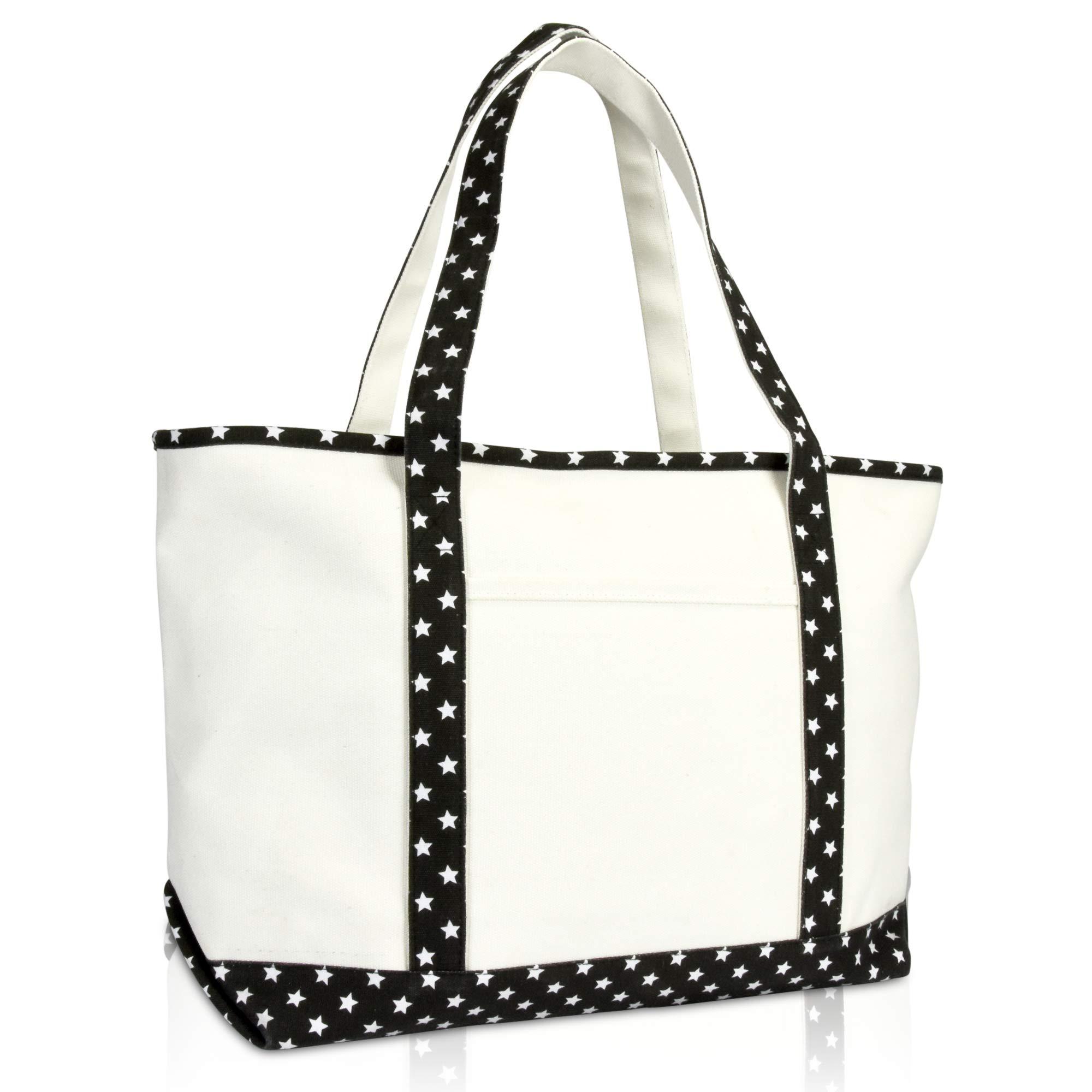 DALIX 23'' Premium 24 oz. Cotton Canvas Shopping Tote Black Star by DALIX (Image #1)